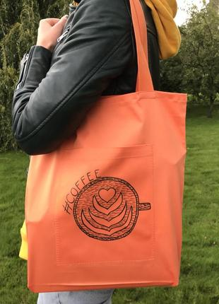 Эко сумка торба шоппер кофе coffee @don.bacon оранжевая