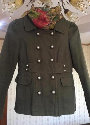 Пальто topshop короткое цвета хаки