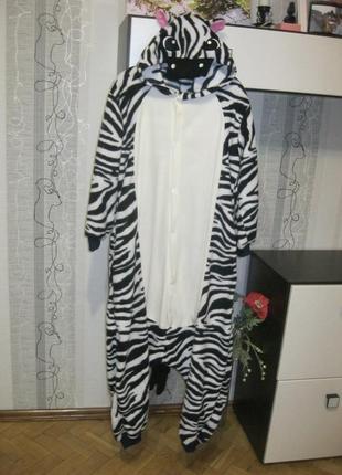Креативная зебра пижама кигуруми лыжный костюм комбинезон 164-174