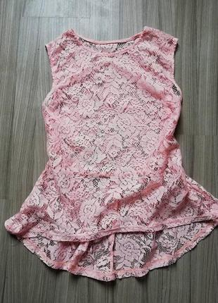 Кружевная пудровая блуза.