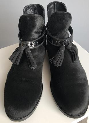 Ботинки челси пони стриженый мех кожа