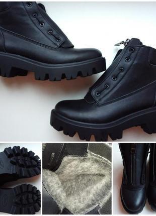 Зимние, кожаные ботинки. 36, размер