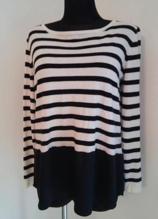 Красивейший свитер в полоску из тоненькой шерсти свободный крой