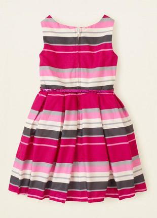 Платье розовое белое в полоску пышное children's place оригинал хлопок 12-14 лет нарядное2