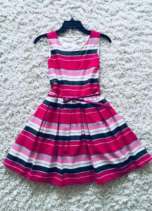 Платье розовое белое в полоску пышное children's place оригинал хлопок 12-14 лет нарядное3