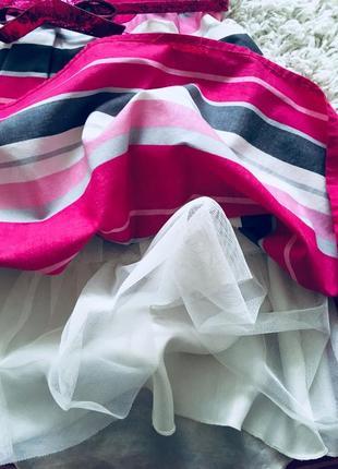 Платье розовое белое в полоску пышное children's place оригинал хлопок 12-14 лет нарядное5