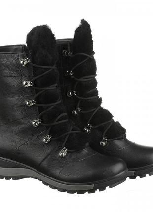 Женские кожаные стильные зимние casual ботинки берцы овчина мех на язычке 36-41р.
