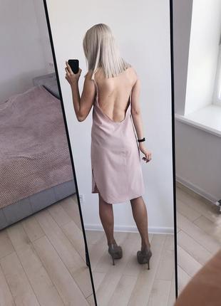 Пудровое платье handmade с открытой спинкой