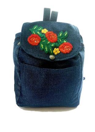 Уникальный джинсовый рюкзак с вышивкой ручная работа