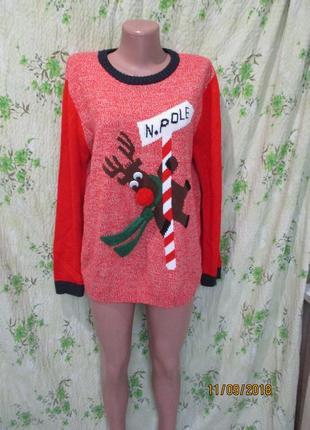 Яркий новогодний свитер с оленем 14-16 рр