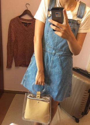 Джинсовый сарафан bershka платье туника