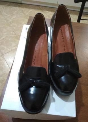 Супер удобные кожаные лаковые черные туфли