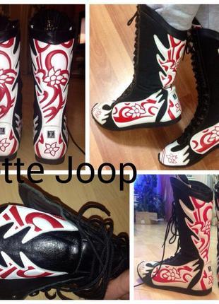 Стильные яркие высокие кеды кроссовки борцовки сапоги jette joop 40-41