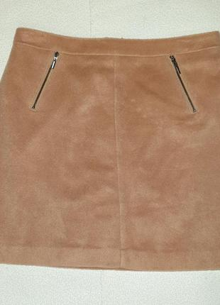 Теплая плюшевая юбка трапеция, кэмел, в составе шерсть