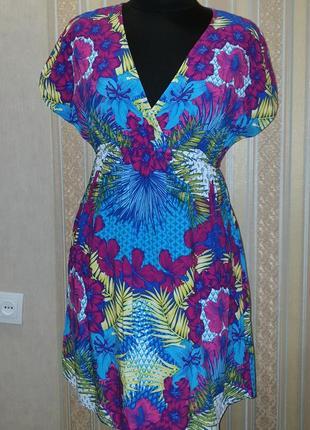 Яркая пляжная туника-платье, принт цветы, вискоза, размер s, m, l, xl