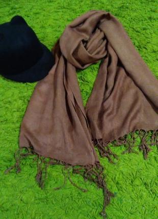 Пашмина шарф шаль цвета капучино кофе с молоком