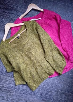 Теплый вязаный свитер размер м