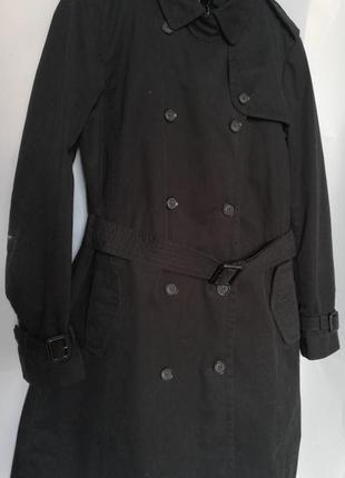 Черное теплое пальто zara