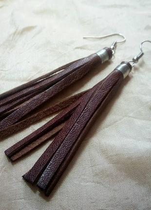 Кожаные серьги кисти ручной работы