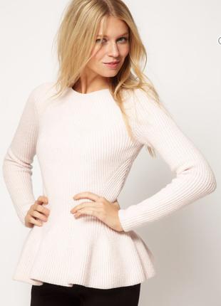 Шикарный молочный свитер с баской дорого бренда ted baker