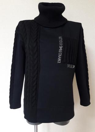 Мега-теплый,толстый,зимний свитер-свитшот на флисе,со съемным воротником, binka, m/l/xl