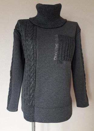 Мега-теплый,толстый,зимний свитер-свитшот на флисе,со съемным воротником, binka,m/l/xl