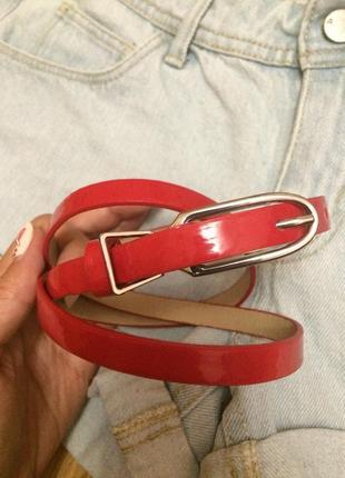 Фирменный лаковый тонкий ремень accessorize,яркий ремешок,пояс,поясок+подарок