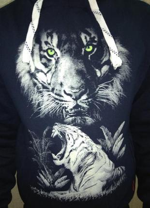 Пайта толстовка мужская тигр трехнить на флисе рисунок светится в темноте. размер s m l xl5