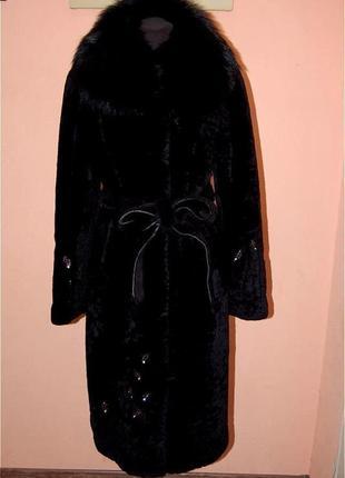 Шуба мутоновая, стриженый мутон с воротником из енота 48-50р