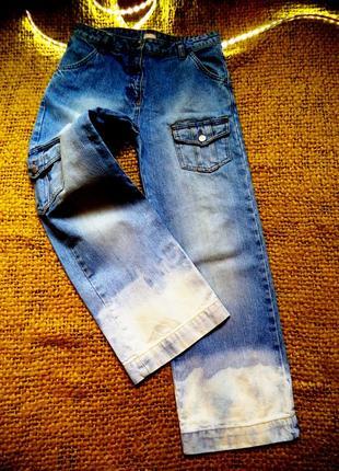 Тренд сезона джинсы трубы 7\8, кэжуал с карманами\for girls