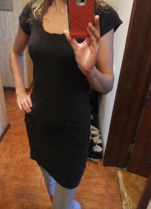 Теплое тонкое вязаное платье с коротким рукавом р.s/m  mng