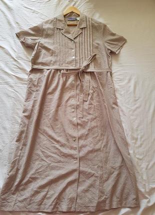 Ретро платье длинное макси с коротким рукавом на пуговицах в клеточку