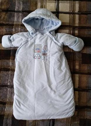 Конверт комбинезон синий для мальчика на выписку mothercare+ шапочка в подарок