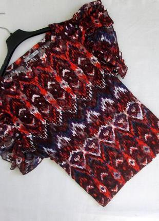Zara/ яркая блуза футболка с воланами на рукавах/блуза с оборками zara