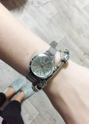Стильные часы из стали ultra silver, женские часы, маленький циферблат,годинник