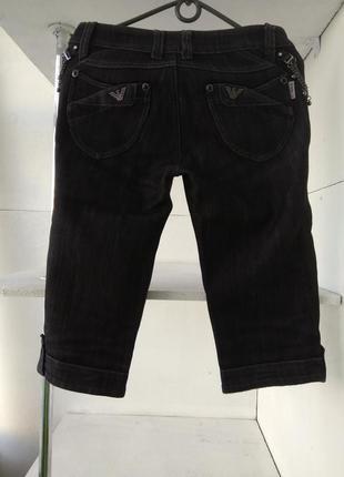 Крутые тёмно-серые джинсы-бриджи на флисе