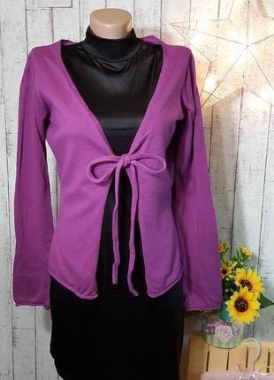 Сиреневая фиолетовая кофта накидка кардиган на завязках из натуральной хлопокой ткани р.