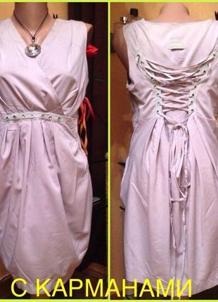 Платье с корсетным шнурком с карманами