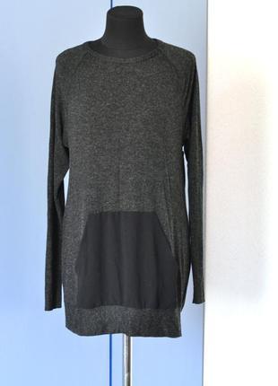 Удлиненный свитер-платье с шифоновыми вставками от zara
