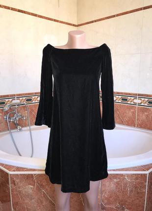Черное бархатное платье zara черный бархат