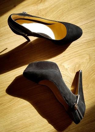 Черные туфли ellenka, натуральная замша, 37р.