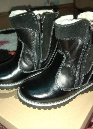 Кожаные детские сапоги ботинки зимние 28 размер