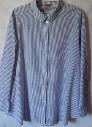 Натуральная рубашка в полоску 100% хлопок 22-24р. h&m