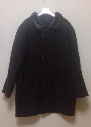 Abercrombie & fitch мужская дубленка куртка зимняя искусственная шоколадная размер 46