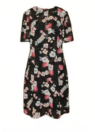Расклешенное шифоновое платье рубашка tu миди ниже колена цветочный принт