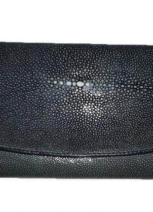 Серый кошелек из кожи ската