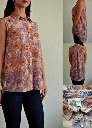 Нежная шифоновая блуза с удлиненной спинкой h&m
