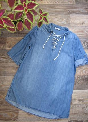 Стильное джинсовое платье со шнуровкой marks & spencer