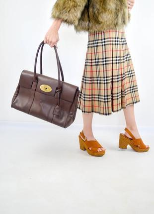 Mulberry большая коричневая кожаная номерная сумка - тоут