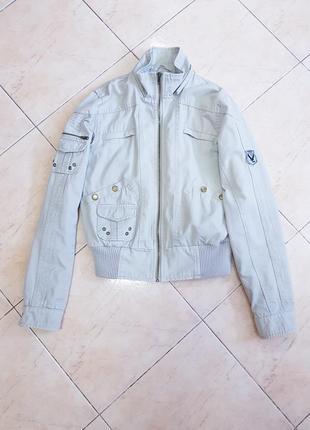 Джинсовая куртка-бомбер